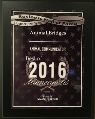 Animal Bridges Best of Minneapolis Animal Communicator Award, Best of 2016, 2 Consecutive Years